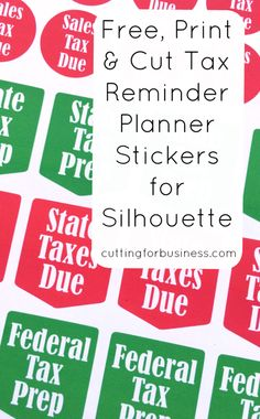 Don't miss tax deadlines! Simple, print and cut tax reminder stickers for your calendar or planner with the help of your Silhouette Cameo or Curio. Mom Planner, Cute Planner, Happy Planner, Planner Ideas, Print And Cut Silhouette, Silhouette Cameo Projects, Silhouette Studio, Printable Planner Stickers, Free Printables