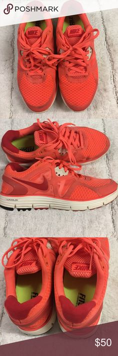 Nike LunarGlide 3 Neon Orange sneakers 6 Excellent condition. These have been worn just a few times. Size 6. Clean insoles Nike Shoes Sneakers