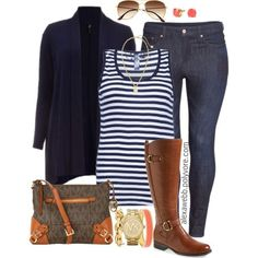 Plus Size - Navy & Coral