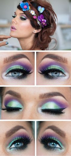 Flower child make-up style in green & purple