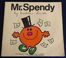 VINTAGE  RARE  MR MEN  book   MR SPENDY    Roger Hargreaves   Mr Men interest