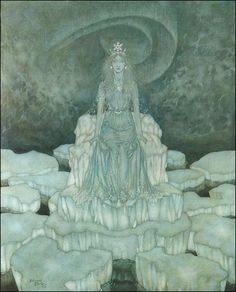 """1911 Edmund Dulac from  Stories from Hans Andersen  The Snow Queen     """"… and in the centre of this lake sat the Snow Queen,  when she was at home."""""""
