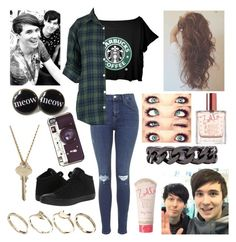 """""""Starbucks with Dan and Phil"""" by youtube-crazy ❤ liked on Polyvore featuring Topshop, Converse, ASOS, Luv Aj, Veja, The Giving Keys, danisnotonfire, danhowell, amazingphil and phan"""