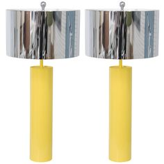 Tubular 70's Yellow Metal Table Lamps | From a unique collection of antique and modern table lamps at https://www.1stdibs.com/furniture/lighting/table-lamps/