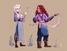"""laure-demontety: """"Elsa and Moana as waterbenders. Moana's betrothal necklace has the pattern of the heart of Te-Fiti. The Last Avatar, Avatar The Last Airbender Art, Avatar Aang, Disney Crossovers, Cartoon Crossovers, Disney Princess Art, Disney Fan Art, Disney And Dreamworks, Disney Pixar"""