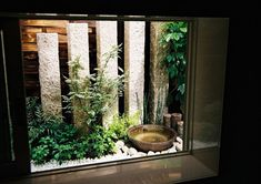 Excite Your Visitors with These 14 Adorable Half-Bathroom Designs Small Japanese Garden, Japanese Garden Design, Japanese Landscape, Japanese House, Garden Spaces, Balcony Garden, Indoor Garden, Patio Central, Indoor Waterfall
