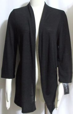 NEW Womens Ladies ELEMENTZ Black Stretch Knit 3/4 Sleeve Open Cardigan Sweater M #Elementz #OpenCardigan #Versatile