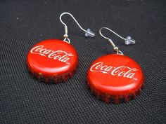 """Items similar to Recycled """"Coca-Cola"""" Bottle Cap Earrings on Etsy Funky Earrings, How To Make Earrings, Diy Earrings, Earrings Handmade, Handmade Jewelry, Bottle Cap Crafts, Diy Bottle, Bottle Caps, Cute Jewelry"""