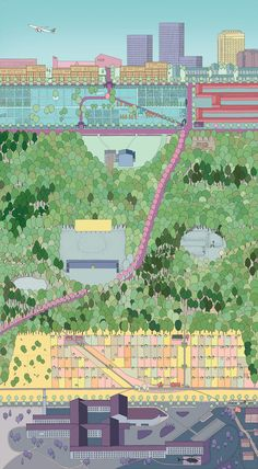 Stadtwald - A Reluctant Park, Davy Rabe von Pappenheim - Atlas of Places Architecture Student, Architecture Drawings, Rendering Architecture, Architecture Visualization, Isometric Sketch, Axonometric Drawing, Collages, Student Problems, Color Plan