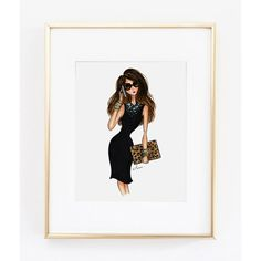 "Fashion Illustration Print, The Editor, 8x10"" ($30) ❤ liked on Polyvore featuring home, home decor and wall art"
