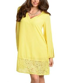 Look what I found on #zulily! Yellow Sheer Cutout Shift Dress #zulilyfinds