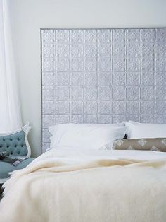 Remake Your Bed with a headboard. Tin ceiling or backsplash panels. They come in so many colors and designs it would be hard to choose! Creative Headboard, Bed, Furniture, Master Decor, Bedroom Decor, Bedroom Diy, How To Make Bed, Home Decor, Tin Headboard
