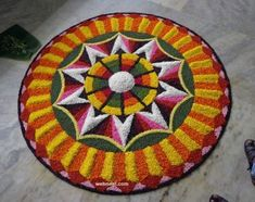 Onam 2018 { Onam Pookalam 2018 } Onam Wishes 2018 Indian Rangoli Designs, Rangoli Designs Flower, Rangoli Ideas, Flower Rangoli, Beautiful Rangoli Designs, Flower Designs, Welcome Home Decorations, Flower Decorations, Diwali Decorations