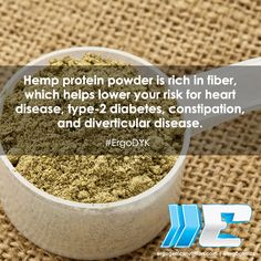 #Hemp protein powder is rich in fiber, which helps lower your risk for heart disease, type-2 diabetes, constipation, and diverticular disease. #ErgoDYK