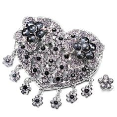 Pugster Luxury Vintage Gray Crystal Heart Flower Set Brooches And Pins | Your #1 Source for Jewelry and Accessories