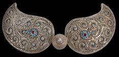 Kurdish Silver Buckle - Michael Backman Ltd Antique Jewellery, Ethnic Jewelry, Turquoise Glass, Silver Bars, Silver Filigree, Red Glass, Islamic Art, Belt Buckles, Jewelery