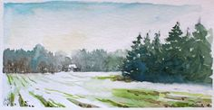 Snow field. Plein air watercolour painting (15 x 30 cm) by Antje Gilland.