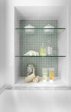 Shower Niche Ideas Bathroom Traditional with Bathroom Shelves Bathroom Storage Bathroom Niche, Shower Niche, Glass Bathroom, Bathroom Wall Decor, Small Bathroom, Master Bathroom, Glass Tiles, Bath Shower, Mosaic Tiles