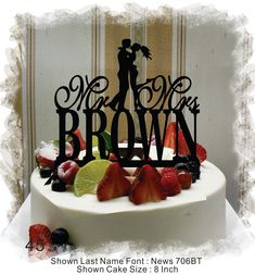 Silhouette  Cake Topper  Monogram Cake Topper Mr and Mrs  With Your Last (Family)Name  - Handmade Custom Wedding Cake Topper