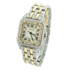 Ladies Cartier Panthere Mini 18K Gold & Steel Two-Tone Vintage Diamond Watch 1ct