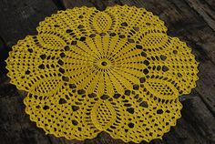 Crochet doily / Lace / Yellow color Nr.15/ 12.2 inches 31