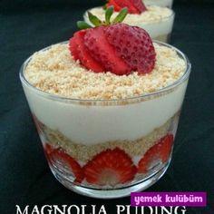 Magnolia Puding nasıl yapılır, resimli Magnolia Puding yapımı yapılışı, pratik Magnolia Puding tarifi