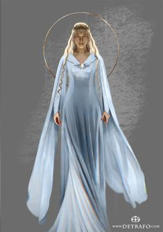 """Companion portrait to the earlier one of Finrod The Vanyar are """"Light Elves""""and I think that goes beyond just their golden hair, so I tryto paint Amarie with a bit of a glow (not that i..."""