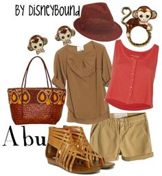 Abu - DisneyBound. Aladdin. Fashion. Pink tank tops red tank top. Brown shirt. Khaki shorts. Beige shorts. Brown Fedora.