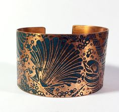 Seashell Cuff, Etched Copper Cuff by AmongTheRuins on Etsy