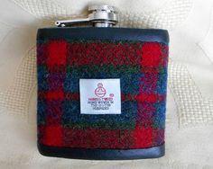 Harris Tweed hip flask red green blue plaid  by TweedwithaTwist