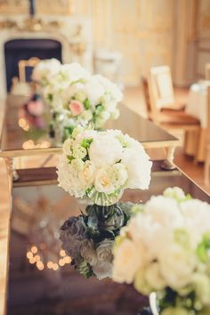 wedding decorations, rose centerpieces