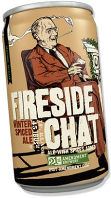 21st Amendment Brewery's Fireside Chat Winter Spiced Ale.... inside by FDR's Depression-era radio addresses. #PackageDesign