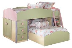 "The Doll House Youth Loft Bed from Ashley Furniture HomeStore (AFHS.com). Seemingly pulled straight from the pages of a fairy tale, the enchanting beauty of the ""Doll House"" youth bedroom collection is sure to magically transform the atmosphere of any child's bedroom."