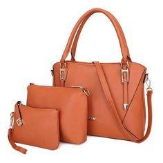 Women 3 Piece Lichee Grain Casual Shoulder Handbag Sets Satchel, Crossbody Bag, Tote Bag, Shoulder Handbags, Shoulder Bag, Luxury Handbags, Clutch Wallet, Bag Sale, Pu Leather