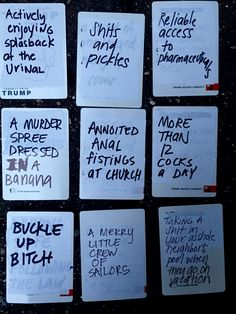 DIY YOUR OWN HILARIOUS CARDS OF HUMANITY DECK AND/ OR GENIUS, AWESOME AND BORDERLINE INAPPROPRIATE IDEAS FOR BLANK CARDS IN CARDS OF HUMANITY DECK