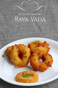 Rava Vada Recipe with step by step instructions. Rava vada is a tasty and tempting breakfast or evening snack recipe for which the batter is prepared with upma rava/semolina/suji and… Veg Recipes, Indian Food Recipes, Cooking Recipes, Cooking Fish, Cooking Games, Cooking Classes, Indian Street Food, South Indian Food, Fingers Food