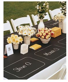 Informal outdoor wedding table decor