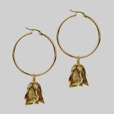 Gold rose bud earrings