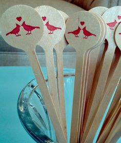 Items similar to Love Birds Circular Wood Drink Stirrer Sticks wedding - shower - party on Etsy Cocktail Accessories, Drink Stirrers, Stir Sticks, Diy Wedding Decorations, Love Birds, Shower Party, Small Gifts, Letterpress, Event Planning