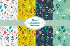 Hand drawn seamless floral patterns by Marylia on @creativemarket