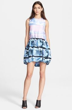 Free shipping and returns on Victoria, Victoria Beckham Print Silk Shantung Dress at Nordstrom.com. Contrast prints using distorted strokes and cool, icy hues divide the paneled bodice and flounced skirt of a shantung dress finished in a softly luminous sheen.