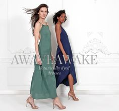 Gorgeous plant-dyed slipdresses for your Summer occasions. by Awaveawake via @shopethica. Add a lovely art-print organic scarf to finish it off.