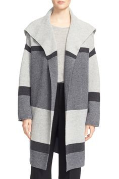 Colorblock Wool & Cashmere Knit Car Coat