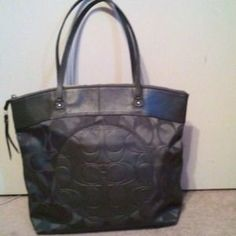 ***SOLD***I just discovered this while shopping on Poshmark: Large pewter Coach tote. Check it out! Price: $45 Size: OS, listed by hwolfe90