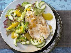 Gebratene Putenschnitzel - mit Orangen-Gurken-Salat - smarter - Kalorien: 363…