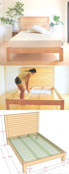 to build a beautiful DIY bed frame & wood headboard easily. Free DIY bed plan & variations on king, queen & twin size bed, best natural wood finishes, and lots of helpful tips! - A Piece of Rainbow Bed Frame Plans, Bed Frame And Headboard, Wood Headboard, Diy Queen Bed Frame, Full Bed Frame, Simple Bed Frame, Fabric Headboards, Upholstered Headboards, Headboard Ideas