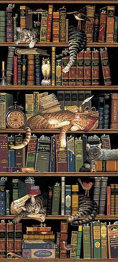 Classic Tails Library Books Cats Tapestry Wall Hanging -- Classic Tails by Charles Wysocki Crazy Cat Lady, Crazy Cats, Book Lovers, Cat Lovers, Library Books, Library Shelves, Bookshelves, Grand Library, Book Nooks