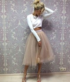 Tulle Prom Dress,Two Pieces Long Sleeve Prom Dress,Custom Made Evening Dress,17176 - Thumbnail 1