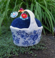 Needle Felted Pin Cushion in Mini Basket by Tami Medwid
