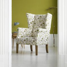 Love this Angie Lewin Hedgerow print - I have a similar armchair and plan to reupholster it using this lovely fabric Upholstered Chairs, Wingback Chair, Angie Lewin, Take A Seat, Home Bedroom, Sofas, Armchairs, Fabric Design, Table